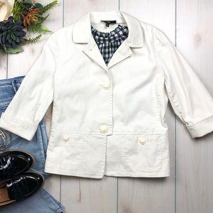 White Cotton Spring Button Front Blazer Petite
